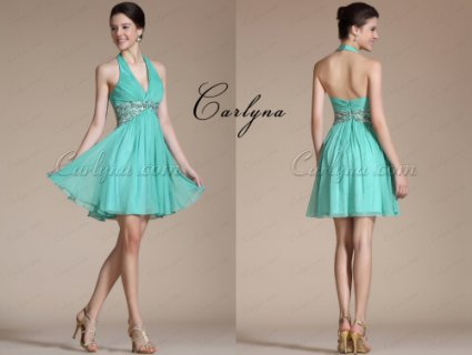 Carlyna Turquoise Halter Gold Sequinsdress