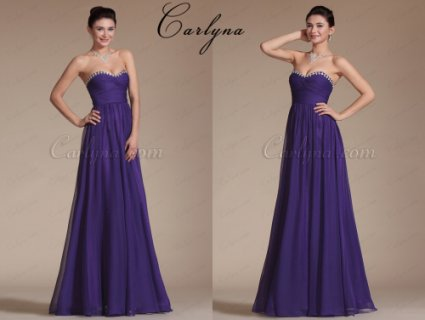 Carlyna Chic Purple Sweetheart Neckline Bridesmaid Dress