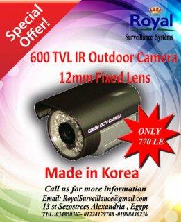خصومات خاصة جدا على كاميرات المراقبة الكورية الخارجية  بعدسات 12