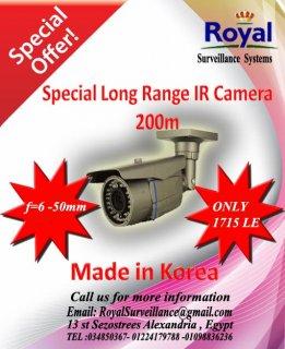 تخفيضات خاصة على كاميرات المراقبة الكورية بعيدة المدى 200 متر