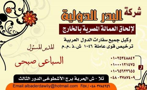 فورا لليبيا فنيين كهرباء خبرة لشركة البدر الدولية بالمنوفية
