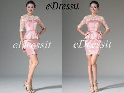 eDressit 2014 فستان وردي بديع جديد بطول الركبة و دانتيل أنيق