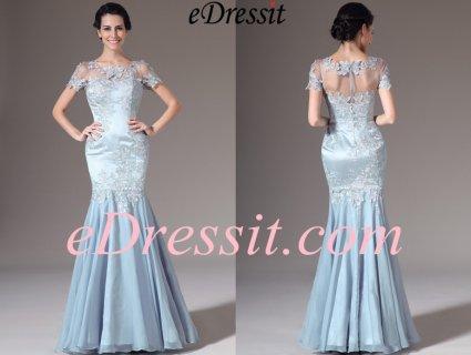eDressit 2014 فستان سهرة حورية البحر الأزرق الجديد بأكمام قصيرة