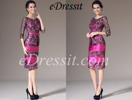 فستان الدانتيل الوردي لأم العروس eDressit