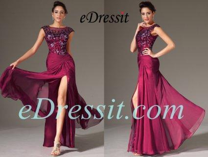 فستان السهرة  الأحمر القاتم الأنيق للبيعeDressit