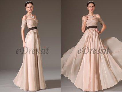 فستان السهرة الرسمي الأنيق بكتف منبسط
