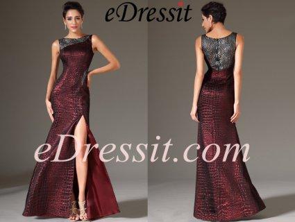 فستان السهرة العنابي الرسمي بظهر الدانتيل
