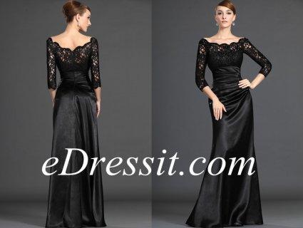 فستان رائج بأكمام الدانتيل الأسودeDressit
