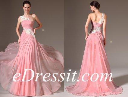 فستان السهرة الوردي بالدانتيل للبيعeDressit