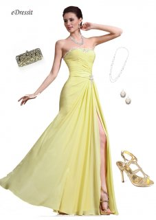 eDressit فستان السهرة الأصفر المذهل الجديد