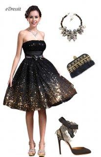eDressit 2013 فستان الكوكتيل الأسود الجديد بلا حمالة