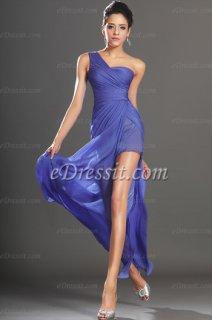eDressit  فستان السهرة الأزرق البهي الجديد بكتف واحد