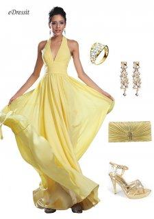 eDressit فستان السهرة الأصفر الأنيق الجديد برباط العنق