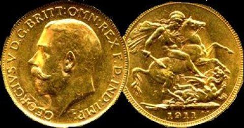 للبيع عملة بريطانيه نادره من الذهب الخالص 1911