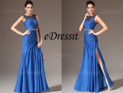 eDressit 2014 فستان السهرة الأزرق الجديد بدانتيل الترتر لجزء علو