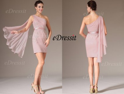 eDressit 2014 فستان الحفلة الوردي الجديد بكتف واحد