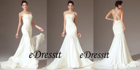 eDressit 2014 فستان السهرة الأنيق بحمالة الدانتيل و عنتري مطوي