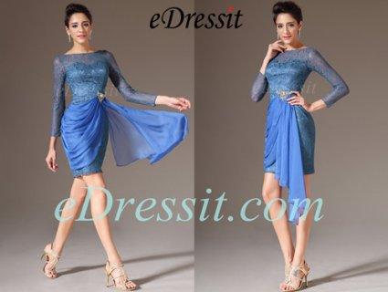 eDressit فستان كوكتيل الدانتيل الأزرق الرائع بأكمام طويلة