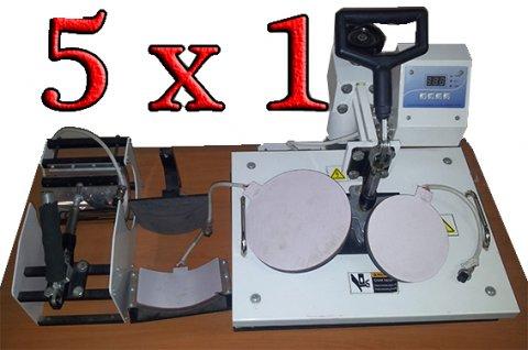 ماكينة طباعة المجات و الأطباق و التيشرت و الكاب (5 × 1)
