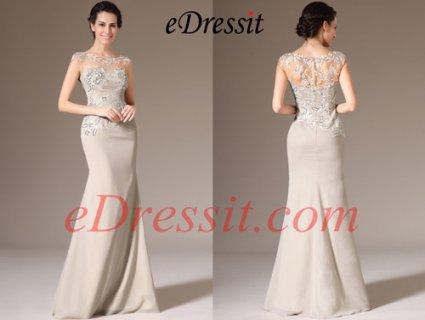 eDressit فستان شامبانيا جديد بجزء علوي الشاش لأم العروس