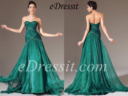 eDressit فستان السهرة الأخضر الجديد العاري الكتف بياقة قلب
