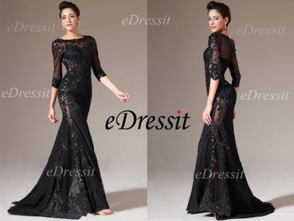 eDressit فستان سهرة الدانتيل الأسود الجديد بنصف الأكمام