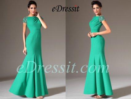eDressit فستان السهرة بموديل حورية البحر و أكمام كاب الخرز