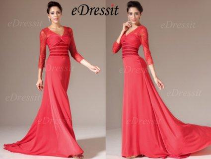 فستان السهرة الأحمر