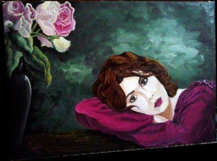 لوحة الفتاه و الزهور