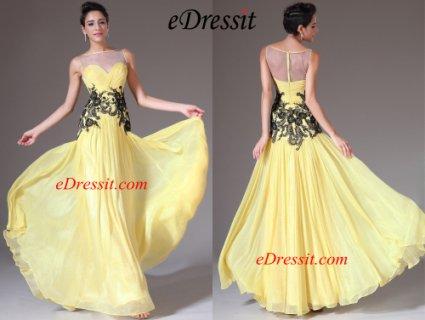فستان السهرة الأصفر الجديدeDressit