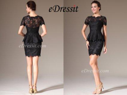eDressit 2014 فستان الدانتيل الأسود القصير بأكمام