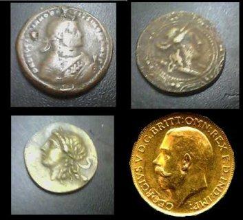 لهواة العملاة الأثريه للبيع أربع قطع نقديه نادره للغايه