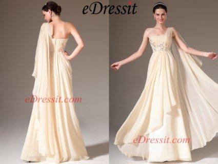 فستان سهرة البيج الرسمي الجديدeDressit