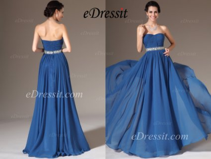 فستان السهرة الأزرق الجديد