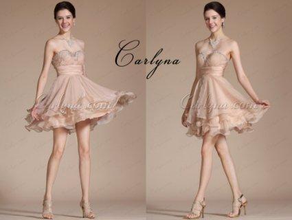 فستان الكوكتيل أو الحفلة البيج الجديدCarlyna2014
