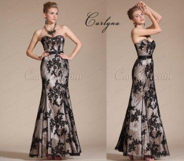 فستان سهرة الدانتيل الأسود Carlyna