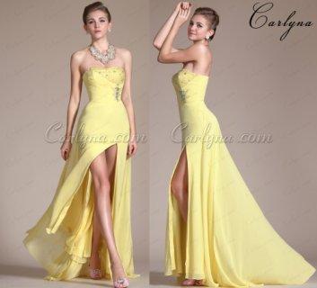 فستان سهرة الشيفون الاصفر الجديد أو فستان التخرج Carlyna