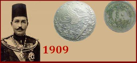 للبيع قطعتان نقديتان من الفضه من عهد الخديوى عباس حلمى عام 1909