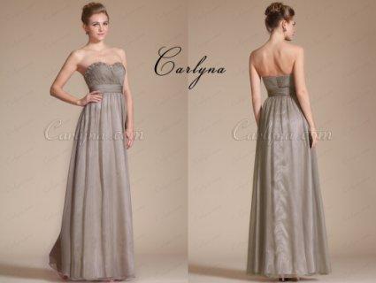فستان السهرة الرمادي الجديد الساحر بياقة قلب الحبيب Carlyna 2014