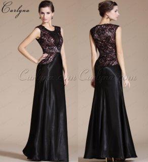 فستان أسود لأم العروس بالدانتيل الأسود Carlyna