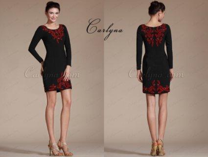 فستان أسود التطريزCarlyna