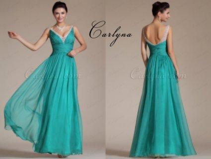 فستان السهرة الفيروز الجديد المطوي Carlyna 2014