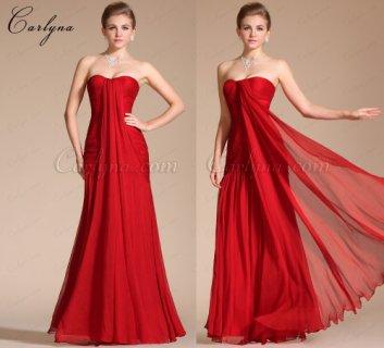 فستان السهرة الأحمر الرائع الجديد العاري الكتف Carlyna 2014