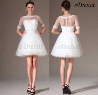 eDressit 2014 فستان الزفاف القصير الجديد بطوق الدانتيل الخفيف