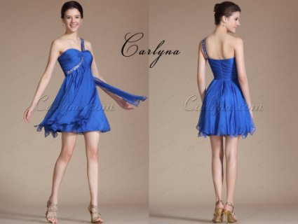 Carlyna Blue Elegant One Shoulder Beadings Dress