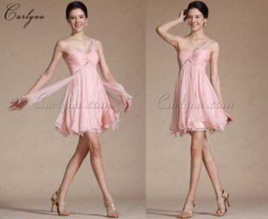 Carlyna Pink One Shoulder Beadings party dresses