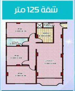 شقة مميزة 125 م واجهة بالبوابة الأولى بحدائق الأهرام