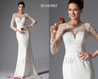 فستان الحفلة الأبيض لزفاف