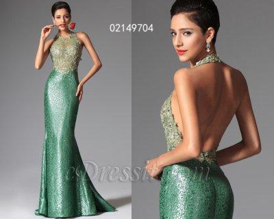 فستان أخضر شيك بالخرزات