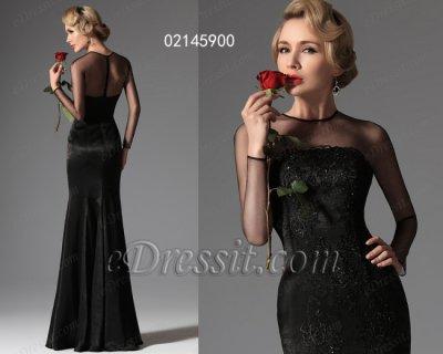 فستان الحفلة الأسود بأكمام للبيع eDressit